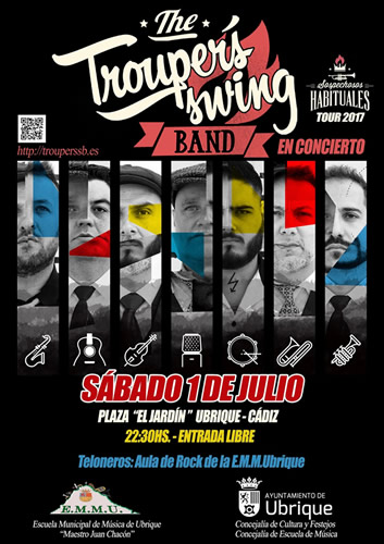 cartel concierto the troupers swing band p